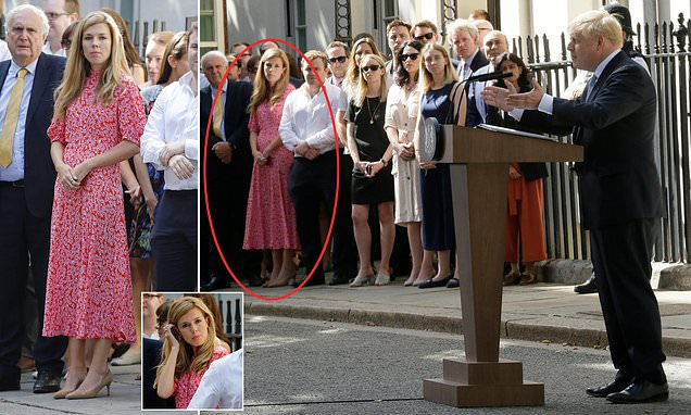 Carrie Symonds watches Boris Johnson give speech in Downing Street