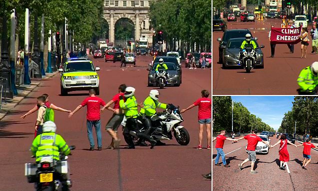 Boris Johnson's car is stopped by climate protesters on the Mall