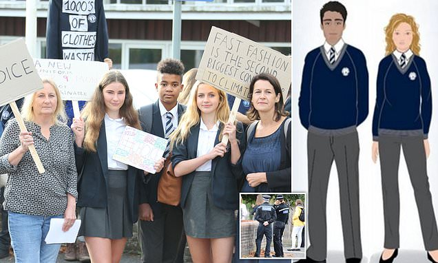 Fury as police 'act like bouncers' on school gates to 'enforce new dress code'
