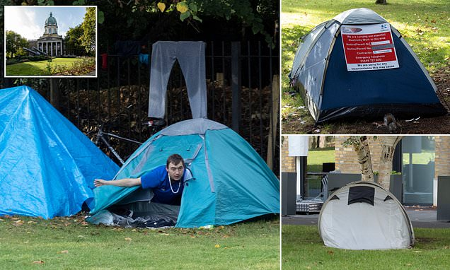 Rough-sleepers pitch up seven tents on Imperial War Museum lawn